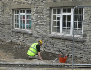 archaeologist at work at Cawdor Hall Newcastle Emlyn