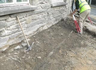 archaeologist at work at Cawdor Hall Newcastle Emlyn
