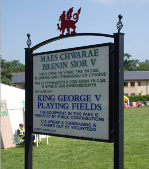 Sign for the King George V playing field